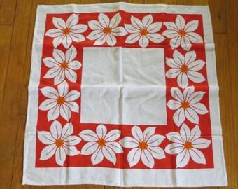 French Linen Floral Towel-Retro-Orange-Kitchen-Mint