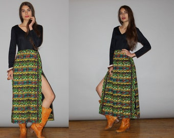 1960s Vintage Boho Ethnic Hippie Long Festival Maxi Dress  - Vintage 60s Maxi Dress   - WD0846