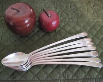 7 Vintage Wm Rogers Silverplate Iced Tea Spoons Beloved Pattern Circa 1940's