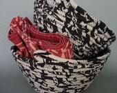 Fabric Basket Set, Black and Tan