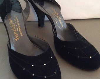 Vintage 1950s Shoes Black Suede French Room Exclusive At Chandler's Rhinestones Narrow Width