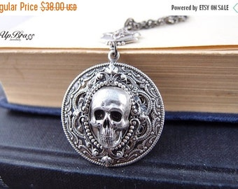 Cloven-aged sterling silver plated brass skull gothic necklace, neo Victorian, haunted,darkness