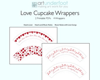 Cupcake Wrappers PDF Hearts Music Notes and Love Songs
