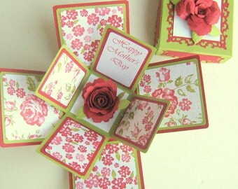 Mothers Day Exploding Box Card Red and Green Floral Roses