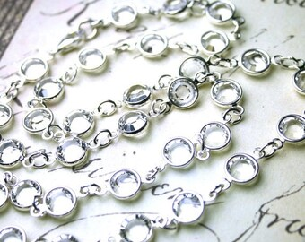 ON SALE Channel Set Swarovski Crystal and Sterling Silver Necklace -  The Perfect Crystal Necklace - Bridal Necklace