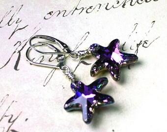 ON SALE Swarovski Crystal Starfish Earrings in Vitrail Light - Purple & Aqua - Swarovski Crystal Wire Wrapped with Sterling Silver