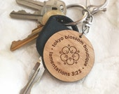 Inspirational Christian keychain with rosewood Bible verse tag - Great is Thy Faithfulness - mother's day gift idea