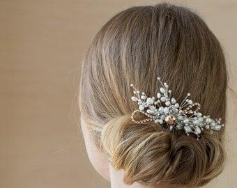 Bridal hair comb, Pearl Wedding hair comb, Bridal headpiece, Rose Gold comb, Wedding headpiece, Pearl hair accessories, pearl comb