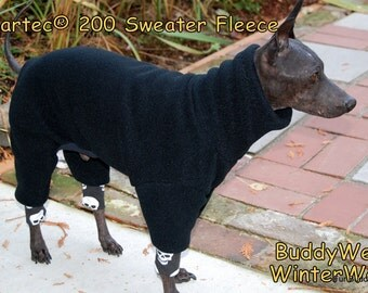 Malden Mills 300 weight Sweater Fleece Winter Body Suit for  Italian Greyhounds, American Hairless, and all small dogs.