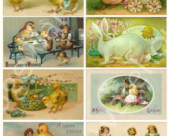 ANTIQUE EASTER POSTCARDS no 2 - cute Chicks and Eggs - Instant Download Digital Printable- 8 images