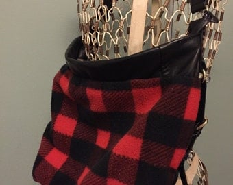Red and Black Checkered Shoulder strap Purse
