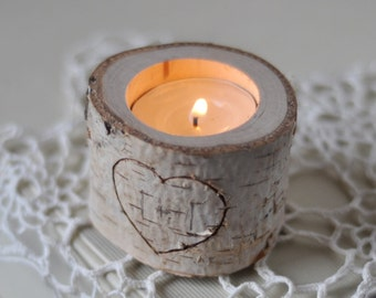 Personalized White Natural Birch Candle Holder