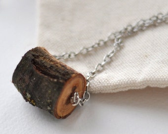 wood necklace  •  modern cherry wood pendant  •  wooden necklace