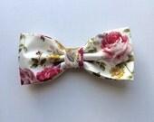 Floral Rose Satin Cream Bow Tie Pre tied Shabby Chic Country Wedding Men Women Teen Boy Baby Toddler Children Bow tie for Groomsmen Groom