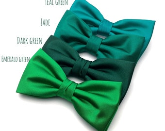 Wedding Bow Tie | Mens Satin Bow Tie | Solid Green Bow Tie | Teal Green Jade Dark Green Emerald Bow Tie Groom Groomsmen Boy Baby Shower Gift