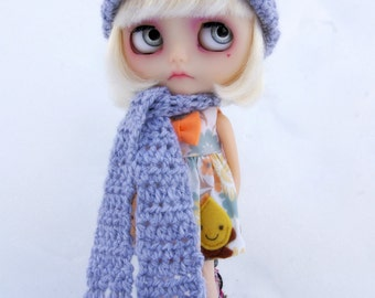 Blythe Rag Bag Designs Grey Crochet Hat & Scarf Set