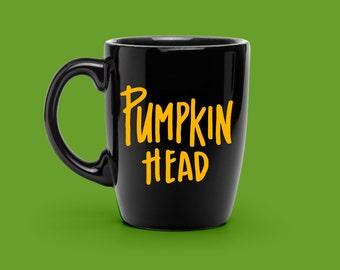 COFFEE Mug VINYL DECAL - Hand Lettered Pumpkin Head Mug Decal - Halloween Coffee Mug - Gift for Husband - Funny Coffee Mug Decal