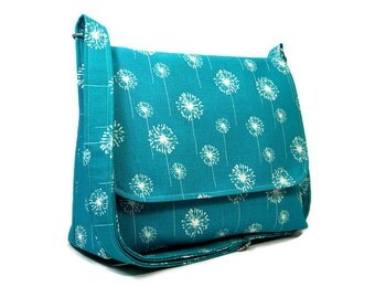 Teal Dandelion Messenger Purse for Women, Fabric Pocketbook, Cotton Crossbody Bag, Blue Cross Body Purse, Dandelion Handbag