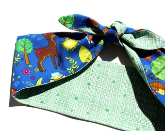 Woodland Animals Headscarf, Bandana , Retro Fabric