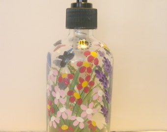 Hand Painted Glass Liquid Soap Lotion Dispenser Bottle Hand Pump Wild Flowers Dragonfly Bumblebees Butterflies Blue Purple YellowOrange Pink