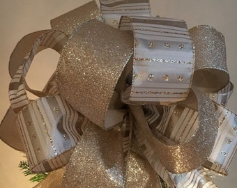 Christmas tree topper bow Champagne gold glitter and striped ribbons