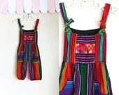 vintage baby's romper - RAINBOW DIAMONDS ethnic jumpsuit / 12-18M