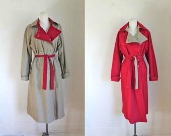vintage 1970s trench coat - BILLINA reversible rain/winter coat / M