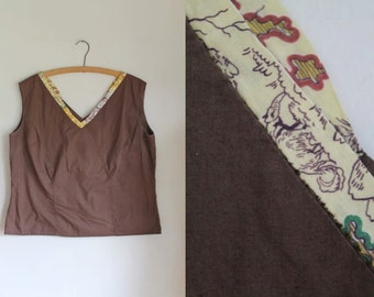vintage 1950s novelty print blouse - ANTEATER print brown top / XL