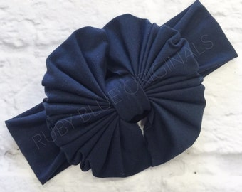 Messy Bow Head Wrap in Navy Blue Cozy Cotton