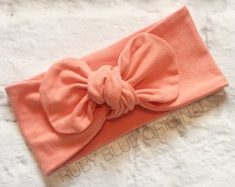 Knot Bow Head Wrap in Peachy Coral Cozy Cotton