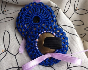 Royal Blue Crocheted Zill Mufflers Finger Cymbal Protectors with Lavendar Ribbon