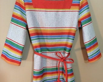 1970s Boho Hippy Chic Ladies Striped Polyester Tunic Shirt Gorgeous