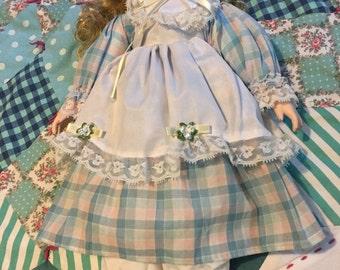 Vintage Porcelain Doll Blue Plaid Dress #3885
