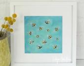 Bee Swarm Painting Print || 8x8 Print of Original Acrylic on Canvas Painting