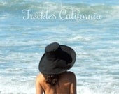 Classic Black Sun Hat Womens Wide Brim in cotton by Freckles California Size Small Medium Large or X Large