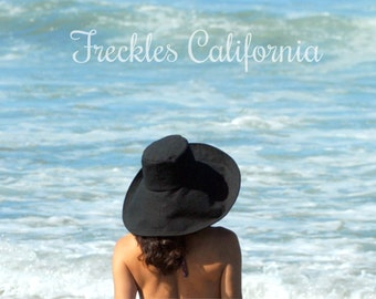 Black Sun Hat Womens Wide Brim Travel Sun Hat Foldable by Freckles California Size Small Medium Large or X Large