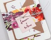 Rustic Modern Floral Wedding Invitations,Rustic Floral Wedding Invites,Autumn Floral Wedding Invite,Deep Red Country Wedding Invitation Set
