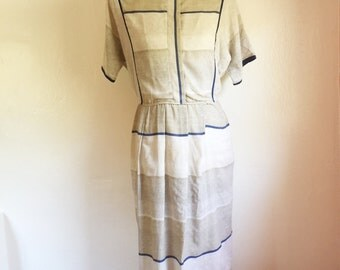 Vintage geometric khaki linen dress