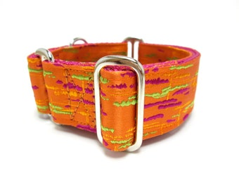 "Houndstown 1.5"" Orange Paintsplash Unlined Martingale Collar Size Medium"