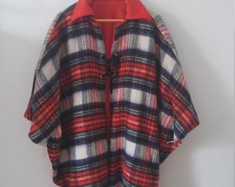 70s reversible plaid cape