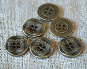 20 Buttons Antiqued Brass Lead Free Pewter Button Findings 15mm
