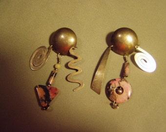 Vintage Barbara Sucherman Sterling Silver Rhodonite Stone Drop Dangle Pierced Earrings Modernist Abstract Design  8516