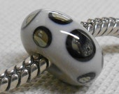 Glass Lampwork Bead Large Hole European Charm Bead Gray with Silver Mirrored Dots