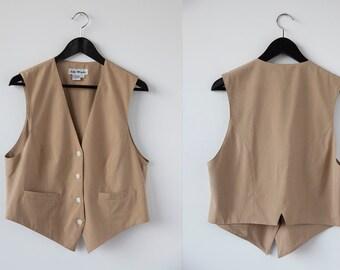 Vintage SILK Tan Vest Waistcoat 80s Deadstock size 4