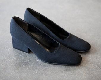 Vintage 90s Calvin Klein CK Minimalist Slip On Pumps Block Heel Black Cloth Canvas Minimal Shoes 5