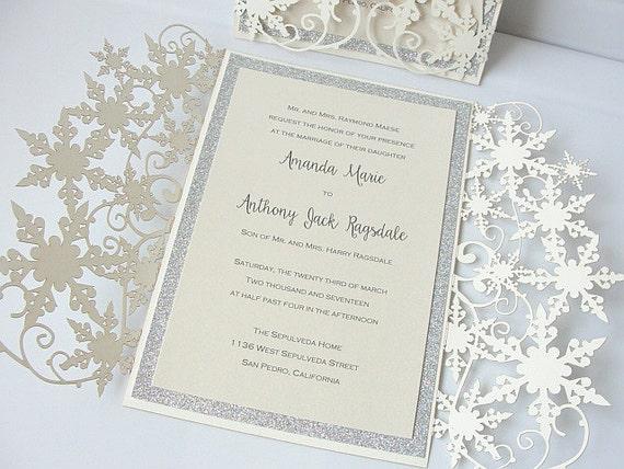 Winter Wedding Invitation, Snowflake Wedding Invite, December Wedding, Winter  Wonderland Wedding, Snowflake Invite, SNOW   GLITZ