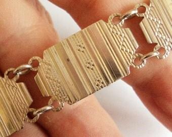 Sterling Silver Art Deco Bracelet... Engine Turned Panels... Monogrammed Clasp