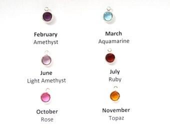 Add a birthstone charms-Swarovski crystal birthstone Jewelry-Birthstone necklace-Personalized jewelry-Initial birthsone-6mm birthstone charm