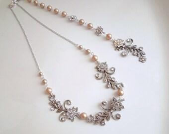Champagne pearl swarovski Bridal Necklace Rhinestone Necklace Backdrop Necklace statement Necklace Swarovski Crystal pearl Necklace GERBERA