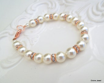 rose gold Ivory Swarovski Pearls Classic Bracelet pearl bracelet Bridesmaid Bracelet Bridal Bracelet Rose Gold Bracelet bridal Cuff KRISTEN